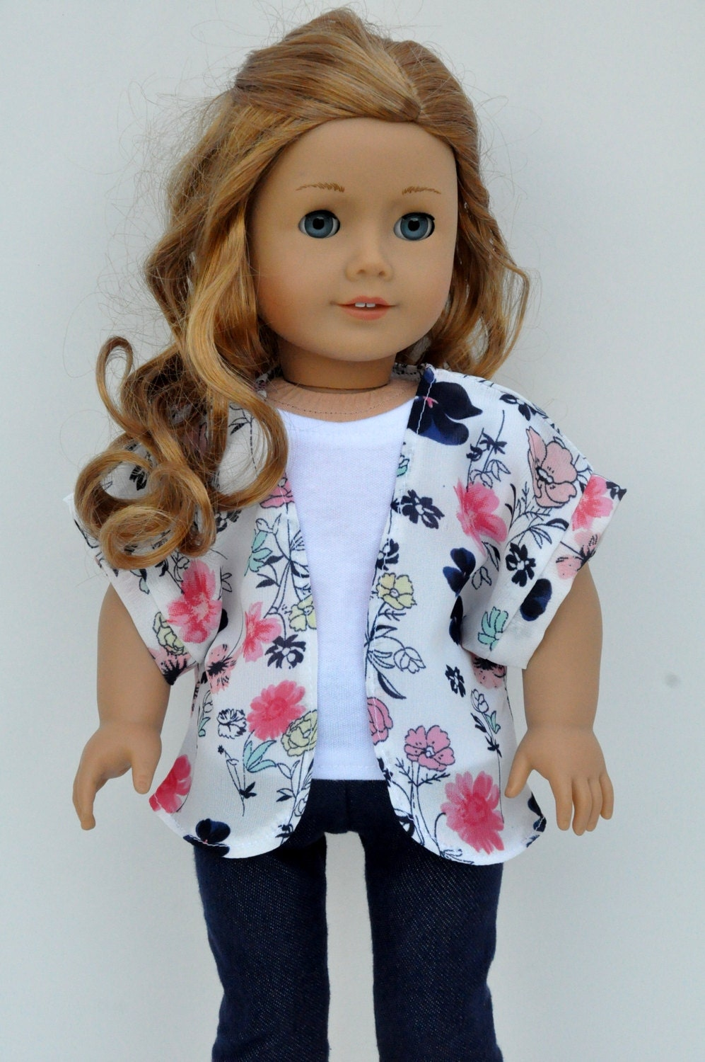 Pink Navy and Mint Floral Print Kimono Jacket 18 inch Doll