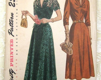 """Vintage 40s 50s Elegant Evening Dress, Soft Pleated Bodice, Flared Skirt.  Simplicity 2639 Sewing Pattern. Size 18 1/2,  Bust 37"""""""