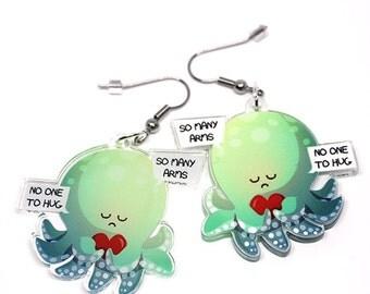 Cute Octopus Earrings, cute octopus, squid, kawaii charm, kawaii squid, cute animals, animal lovers, anime gifts