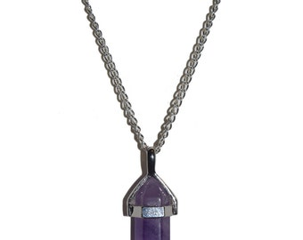 Natural Amethyst Crystal Stone Point Silver Necklace