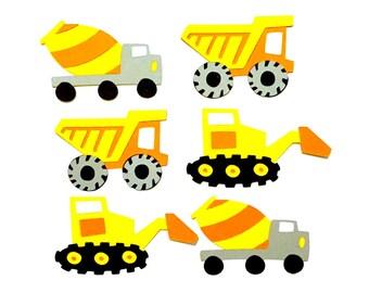 Set of 6 Construction Trucks Die Cuts / Paper Die Cut Trucks Dump Truck Die Cut Bulldozer Die Cut Boy Die Cut Construction Die Cut Baby