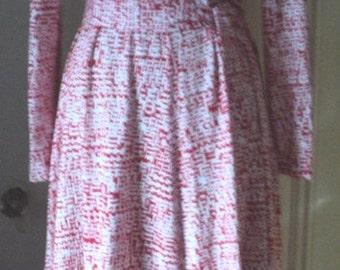 T-Shirt Dress, Tank Dress, Knit Dress, Red and White Print, Long Sleeves, Simple Cotton Knit Dress