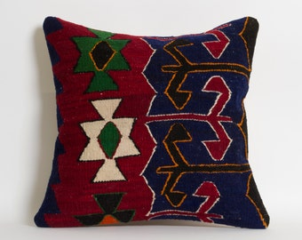 Kilim Pillow Cover - Ethnic Home Decor Handwoven Wool Turkish Kilim Embroidery Pillows - Decorative Pillow - 16x16 inch - Vintage Home Decor