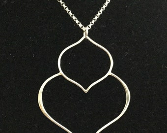 """Sterling Silver Double Lotus Pendant Necklace - 20"""""""