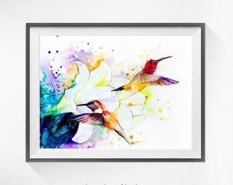 Hummingbird watercolor painting print, Hummingbird art, Flower watercolor, animal illustration,Hummingbird illustration, bird art,