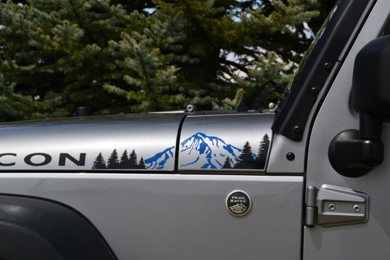 Jeep Wrangler Jk 2 Color Extended Hood With Mountains And