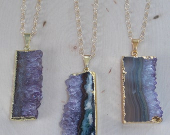 Amethyst Necklace / Gold Dipped Amethyst Slice Necklace / Raw Amethyst Necklace / Raw Amethyst / Amethyst Necklace / Amethyst Jewelry, Geode