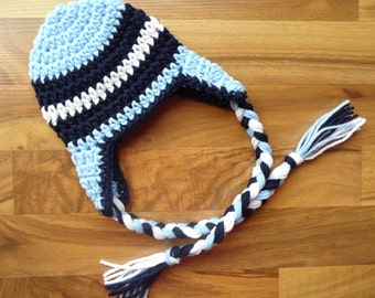Crocheted Baby Boy Earflap Hat with Braided Ties, Crocheted Baby Blue, Navy Blue & White Earflap Hat, Sizes Newborn to 5T, MADE TO ORDER