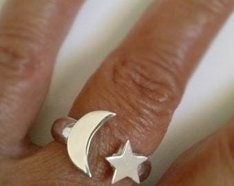 Handmade Half Moon and Star Silver Ring with  solid sterling silver band