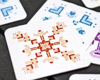 Colorful Snowflakes - Letterpress Drink Coaster - Set of 9 - Stocking Stuffer - Winter Decoration Wedding Favor Housewarming Hostess Gift