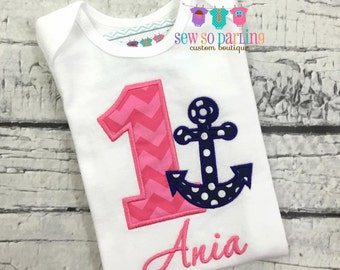 Baby Girl Nautical Birthday Outfit - 1st Birthday Anchor Birthday Outfit - 1st Birthday Outfit
