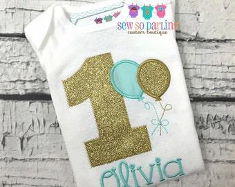 1st Birthday Girl Shirt - Girls Turquoise and Gold Birthday Outfit - Balloon Birthday Outfit - Birthday shirt - 1st Birthday outfit