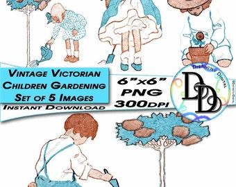 Vintage Victorian Gardening Children Kids Set of Five Clip Arts Instant Download Digital Images - Vin0002