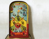 1930s Skor-It Marble Game / Poosh-M-Up 5-in-One Game / Vintage Arcade Pinball Game / Put-N-Take, Bagatelle, Twenty One, Colors, and Baseball