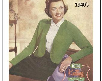 1940s Bolero Knitting Pattern - PDF Instant Download