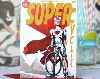 Male Super Cyclist Comic Book Style Greetings Cards