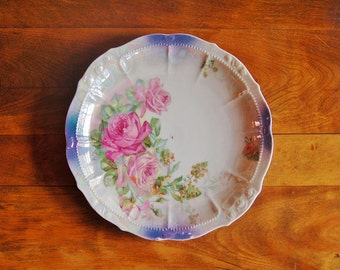 Antique Porcelain Lusterware Bowl, Pink Roses Old Floral Dish, German Transferware Serving Bowl Silesia Art Nouveau Plate Floral Centerpiece