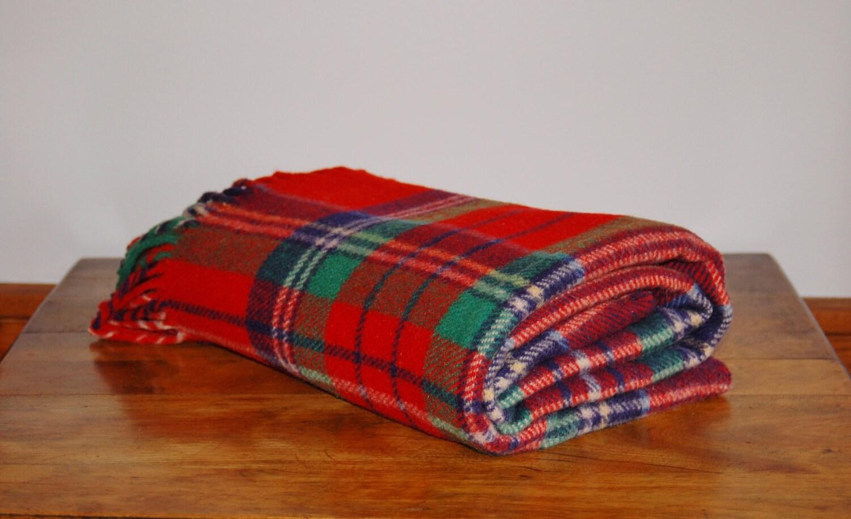 Scottish Plaid Wool Blanket Red Blue Green White Tartan Plaid