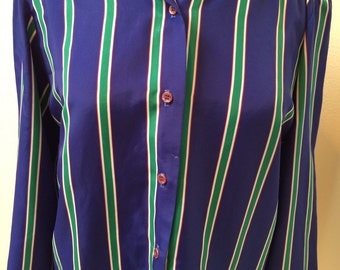 Blue/Green/Purple & White Striped 70's  Blouse by Russ Petities Ladies Size Medium