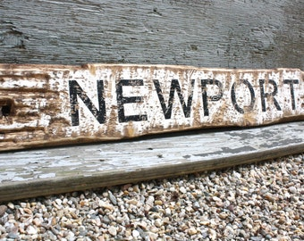 Newport RI CA Beach Sign Beach Decor Rustic Distressed Coastal Decor Wood Sign