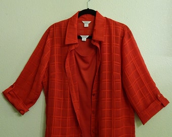 Christopher + Banks Womens XL/Extra Large 2-Piece Red Blouse/Top + Tanktop