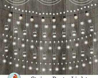 String Lights Clipart, Fairy Lights, Chalkboard Party Lights, Wedding Lights, Birthday Banner, Mason Jars, Bunting Instant Download 5026
