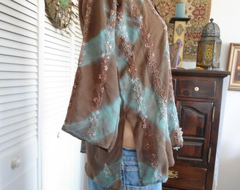 Bohemian Caftan Hippie Tunic Bangladesh Clothes Size Medium Sequin Kaftan Embellished Embroidered Brown and Blue Boho Style Clothing