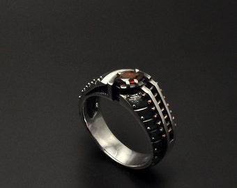 """Silver Industrial Steampunk Ring """"Pellerendum"""" 