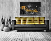 Super Moon Pittsburgh Skyline Bridge Photo Matted or Metal Print Selective Color North Shore Photograph Picture