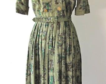 1940s-50s Dress w/ Letters Print
