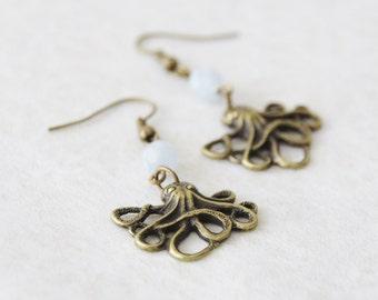 Octopus Earrings / Handmade Brass Cthulu Earrings with Blue Crystals /  Nautical Earrings / SE148