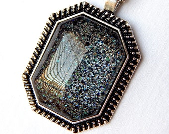 Black Glitter Pendant; Glass Cabochon Necklace; Nail Polish Jewelry; Black Glass Pendant Necklace; Octagon Pendant; Painted Glass Jewelry