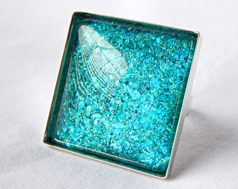 Teal Ring; Square Glass Cabochon Ring; Glitter Nail Polish Jewelry; Silver Square Ring; Aqua Green Glass Ring; Hand Painted Glass Jewelry