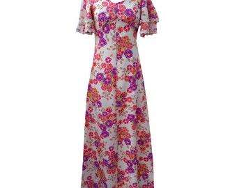 1970s angel sleeve floral vintage maxi dress