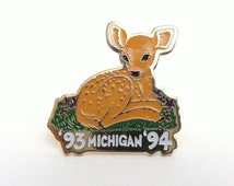 Michigan Deer Pin, Woodland Fawn Pin, Vintage Deer Jewelry
