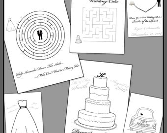 Personalized Wedding Coloring Book - Printable File Emailed to You - Favors