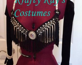 Custom Costume Dance or Pageant Black Fringe Jazz Costume