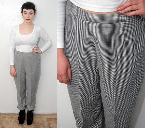pantalon mod le vintage 10 noir blanc 80 s houndstooth pant. Black Bedroom Furniture Sets. Home Design Ideas