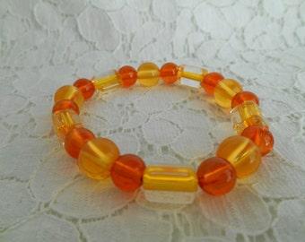 Yellow and Orange glass bead bracelet ~HANDMADE~