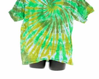 Tie Dye Shirts. Mens Extra Large T-Shirt, Festival Clothing, Trippy Green Tee