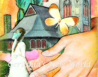 Stairway to Heaven (Art Challenge) - ACEO,  Watercolor, Collage, Heaven,  Print