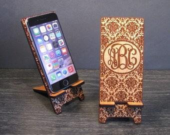 Personalized Monogram Wooden iPhone Dock - Universal Wood Cell Phone Stand - 5 Sizes Custom Fit for iPhone 6, 6 Plus, iPhone 5, i4, Galaxy