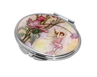 Oval Compact Mirror - Vintage Fairies 1 - Can be Personalised