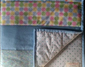 SALE!  Crib Size Quilt.  Modern.  Blue Pastel Baby Boy Crib Quilt #BQ103