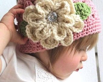 Crochet Baby Hat, Girl Hat, Girl Beanies, Flower Hat, Pink Hats, Kids Hats, Baby Beanies, Infant beanies, Newborn Hats, Women Hats, Pink Hat