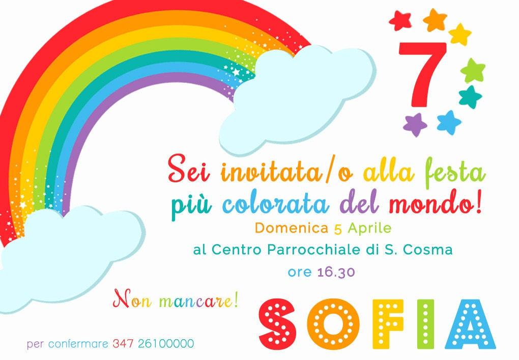 Invito personalizzato compleanno arcobaleno - Arcobaleno a colori e stampa ...