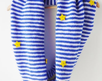 Blue and yellow striped infinity scarf with handmade star buttons, Blue and yellow star cowl