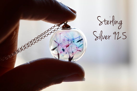 Sterling silver rainbow dandelion necklace. Make a wish.real flowers. seeds magic romantic. glass orb