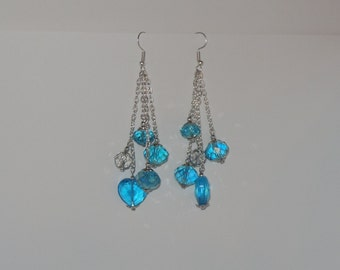 Sparkly and Blue - handmade dangling earrings