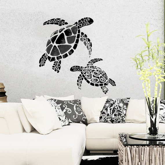 turtle wall decal tortoise tortoiseshell ocean sea decals wall. Black Bedroom Furniture Sets. Home Design Ideas